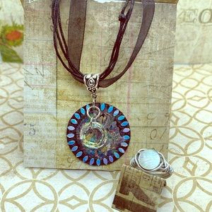Painted wooden disc pendant and ring